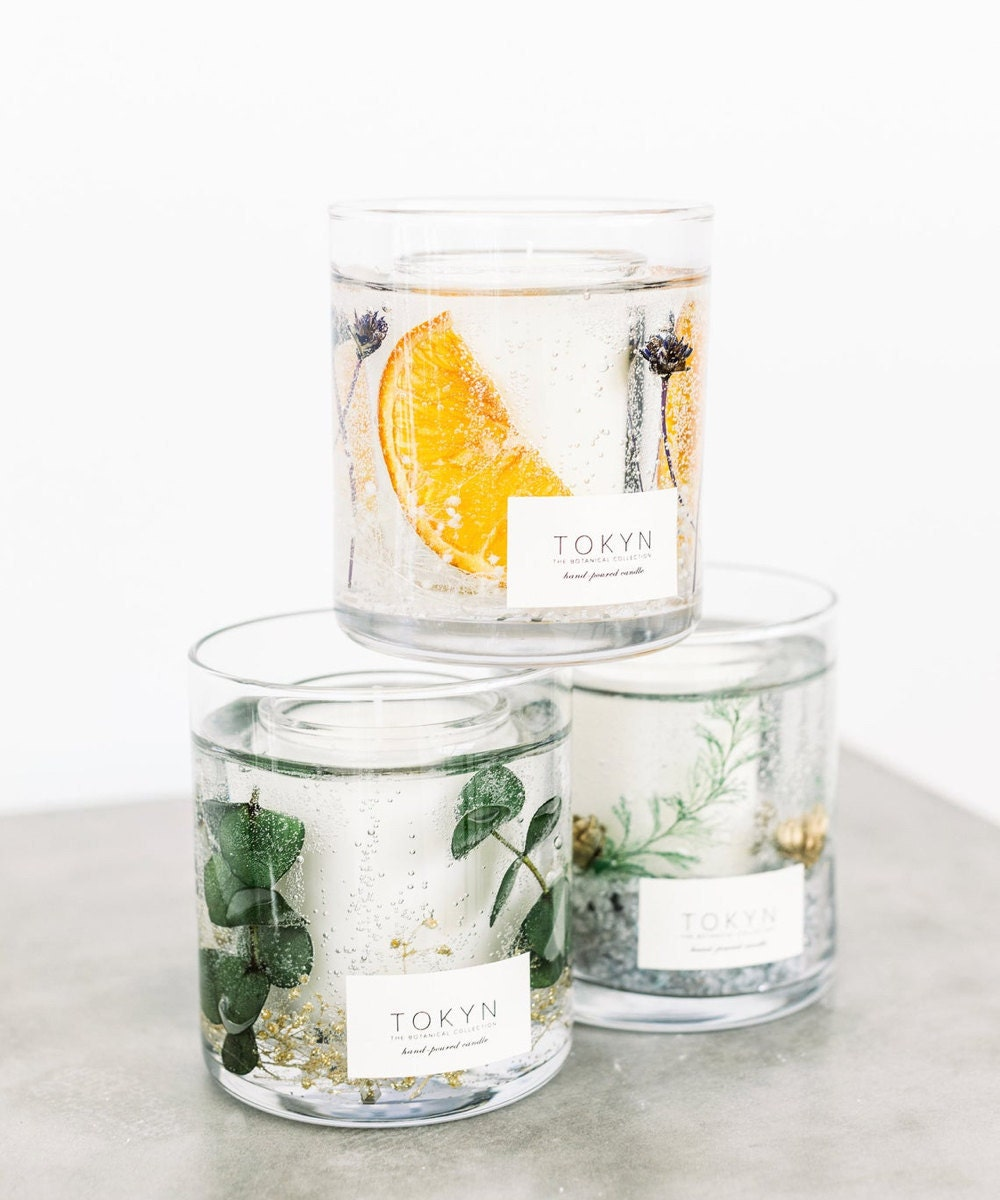Assorted scented soy wax candles from the Tokyn Candles Botanical Collection