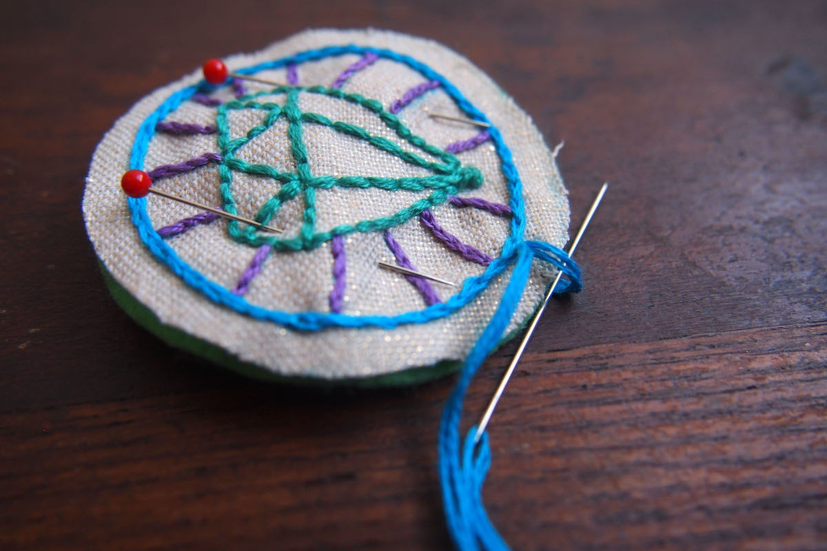 Blanket stitch in progress