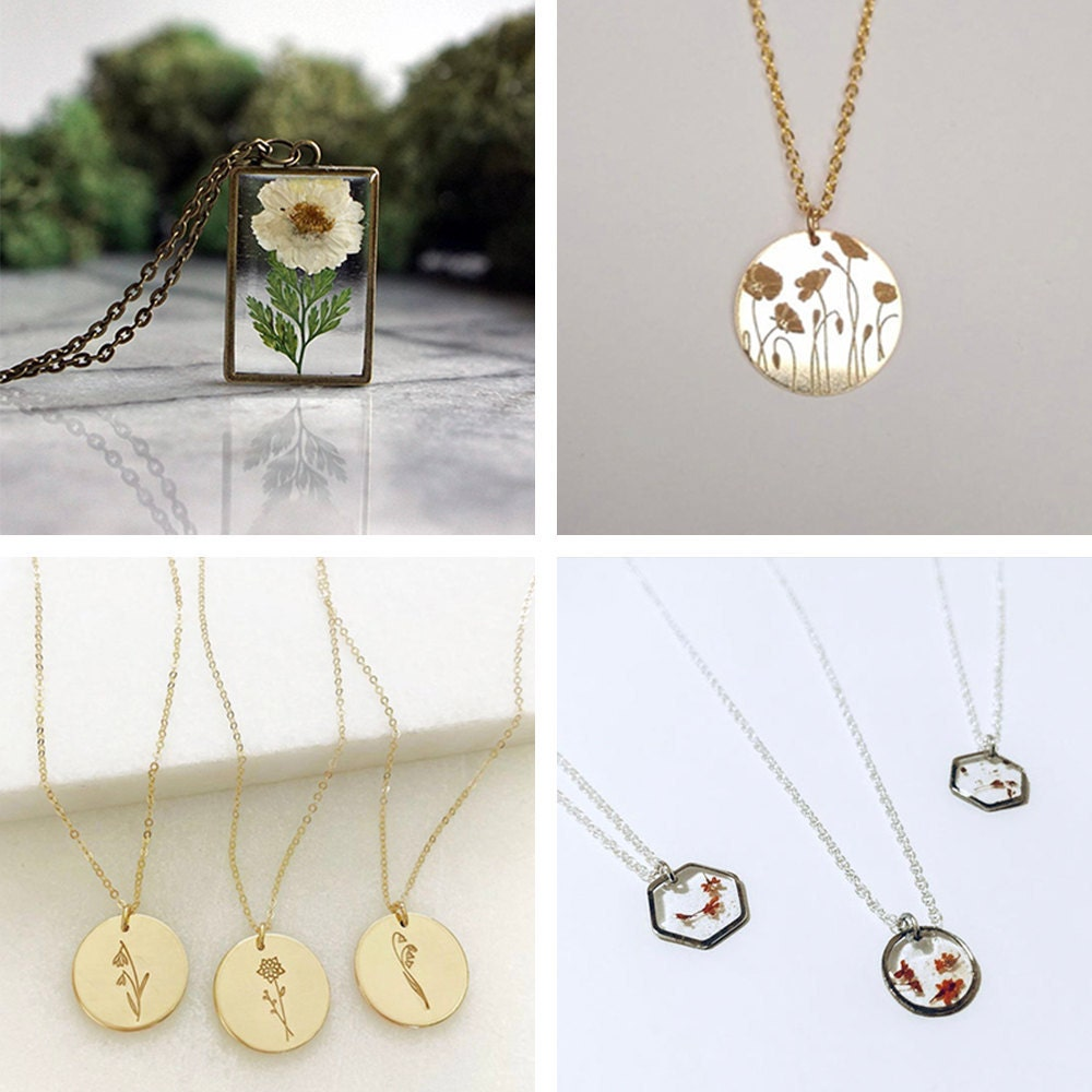 A collage of birth flower necklaces available on Etsy