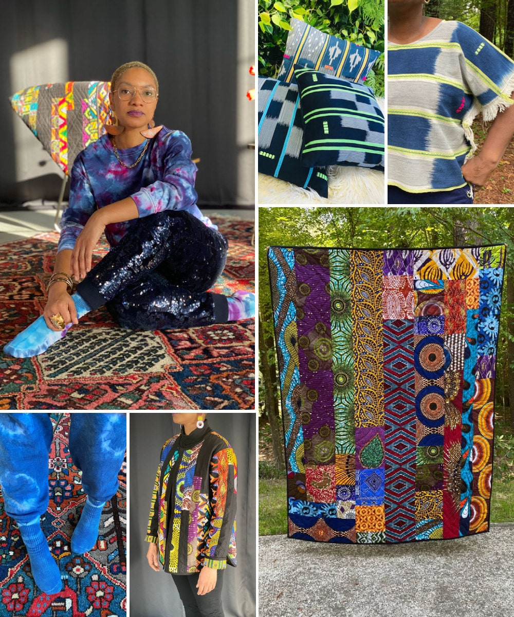A collage of textiles from Show & Tell pictured alongside shop owner Alyah Baker
