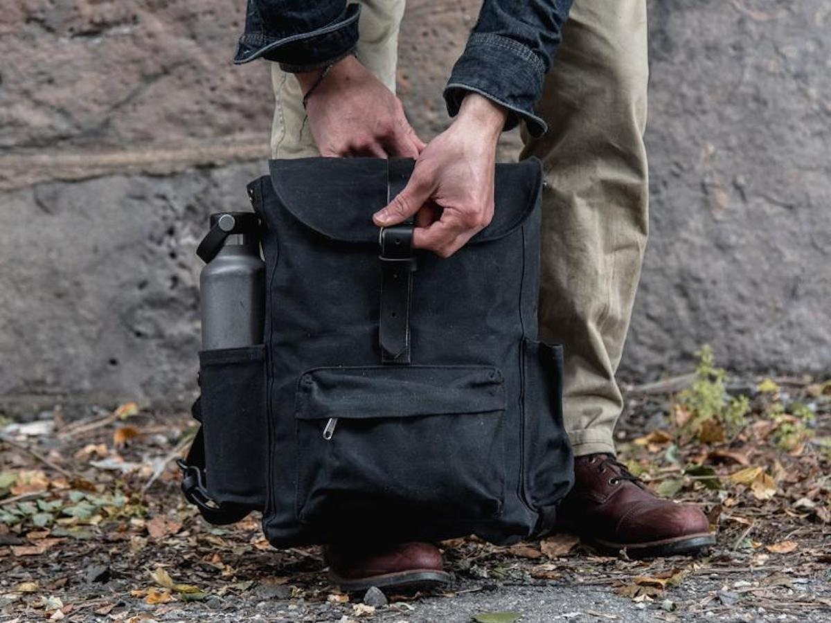 Black waxed canvas backpack from Peg & Awl, and more of the best dad gifts from Etsy