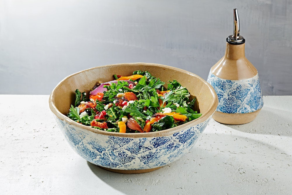 Stoneware serving bowl and oil bottle from Claylicious