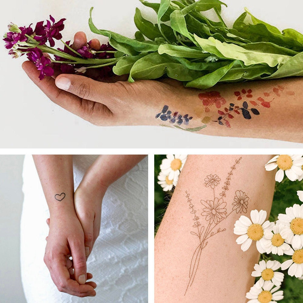 A collage of temporary tattoos from Etsy