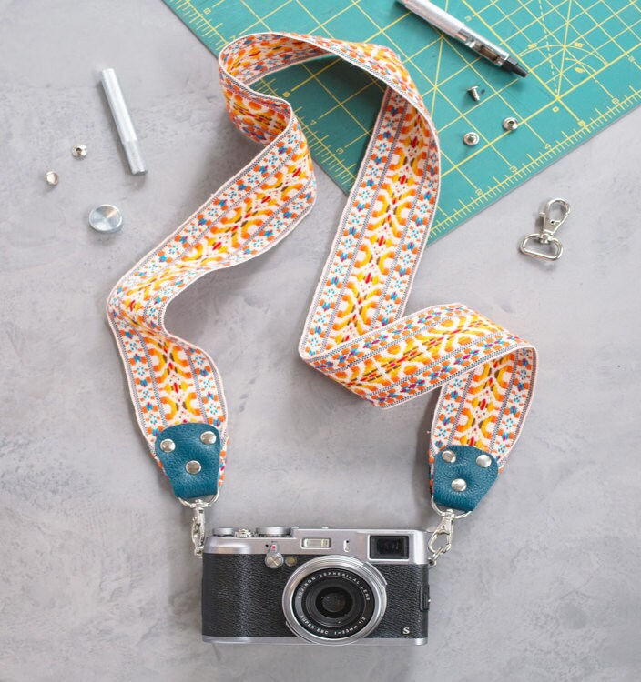 Finished DIY camera strap, shown attached to a vintage camera