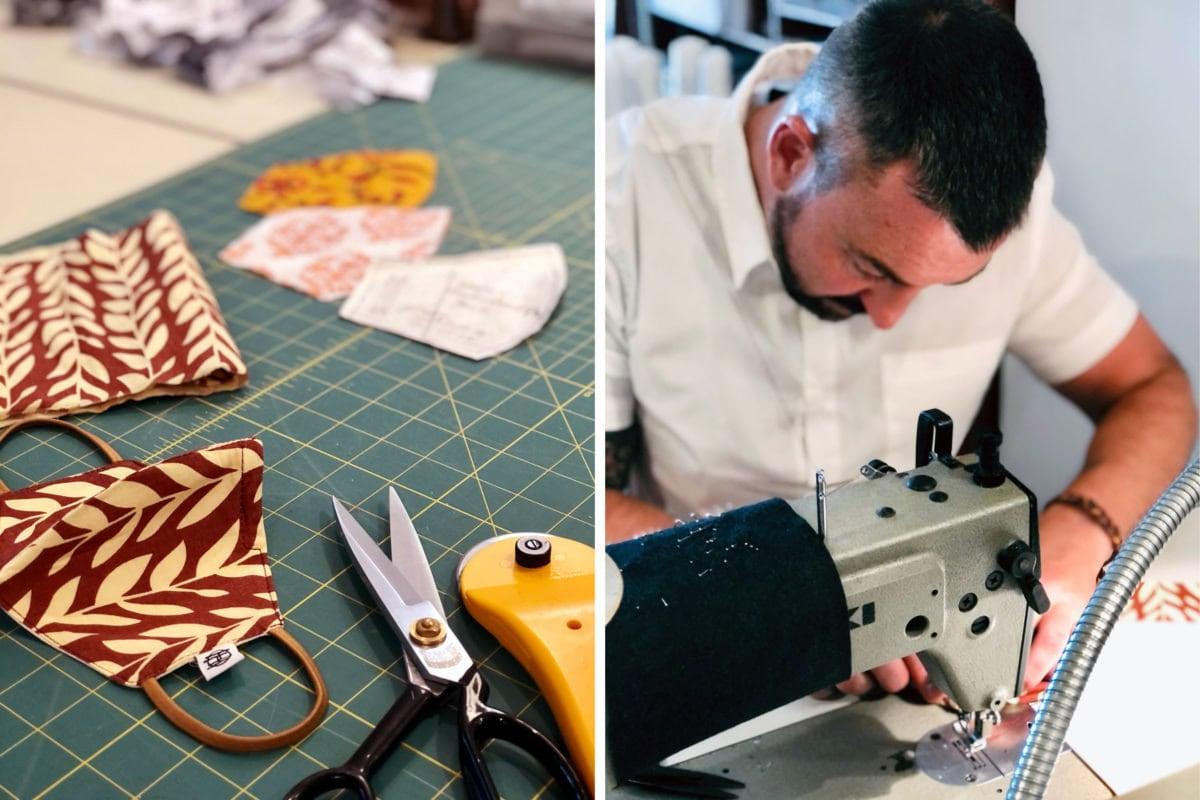 Designer Eden Slezin makes face masks on a sewing machine.