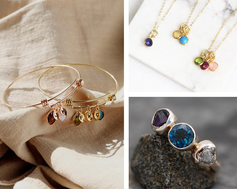 A collage of birthstone bracelets, necklaces, and rings from Etsy