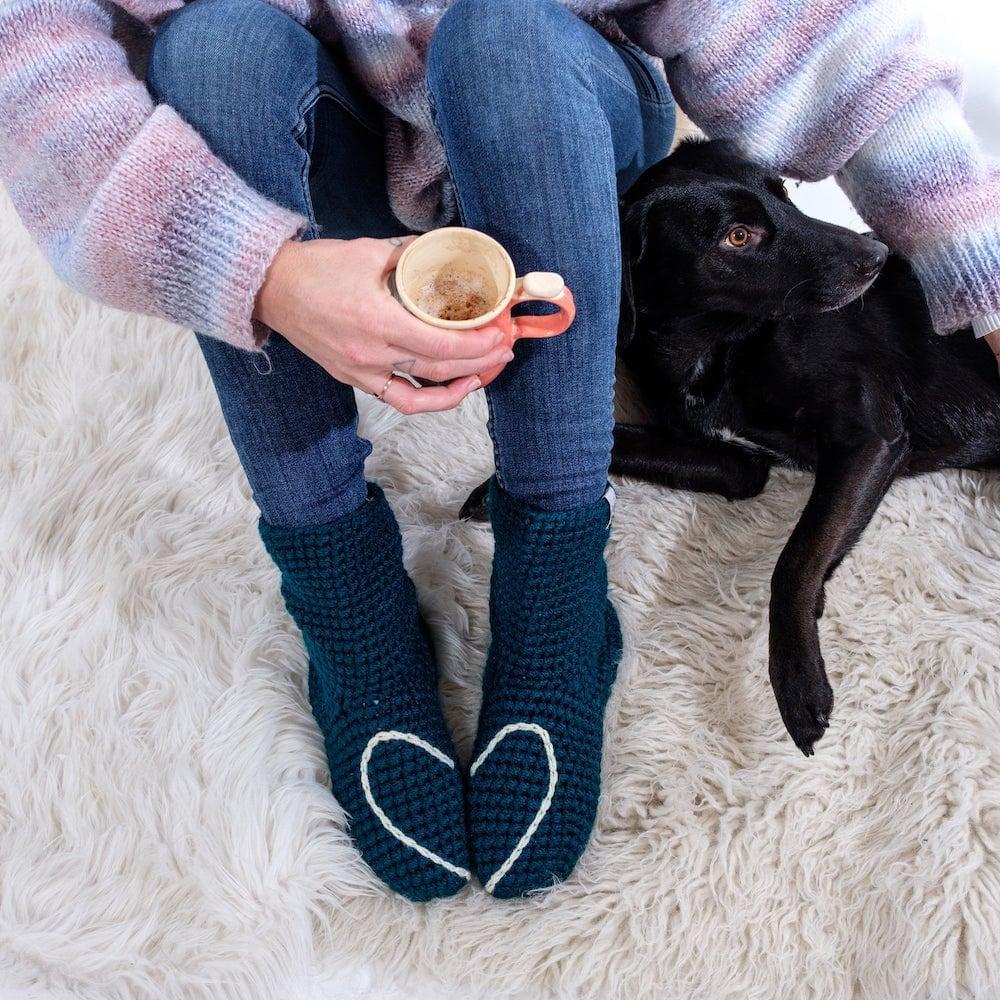 Crocheted slipper socks from eka wear