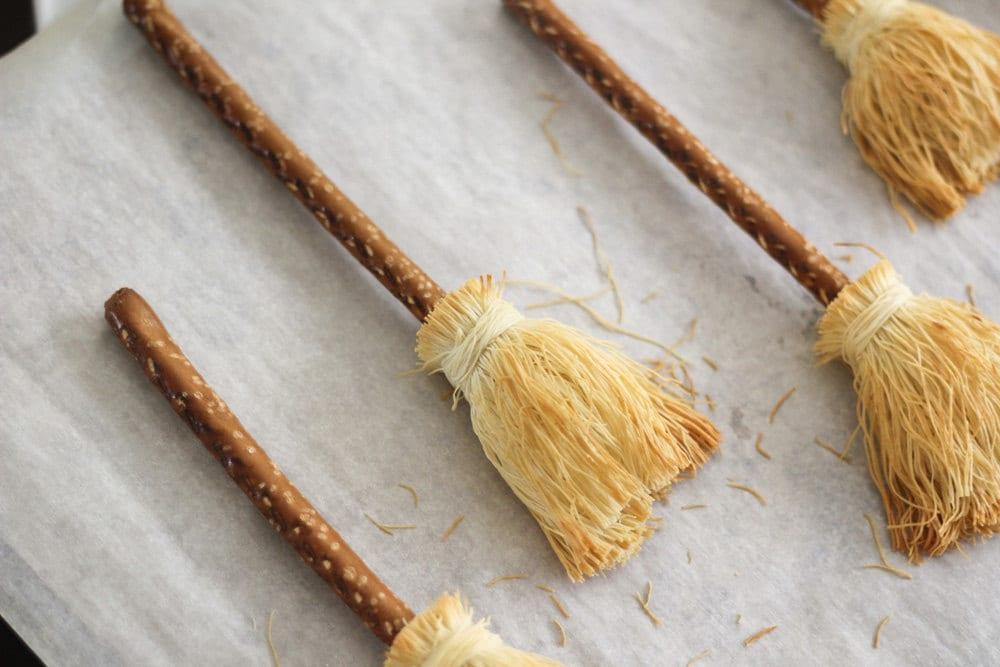 Homemade pretzel broomsticks