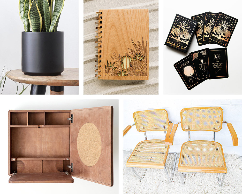 A collage of home office supplies and decor from the Real Simple Home, available to purchase on Etsy.