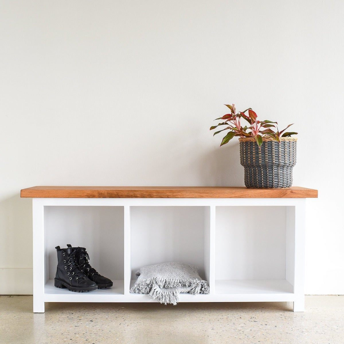 Entryway bench with storage cubbies from What WE Make