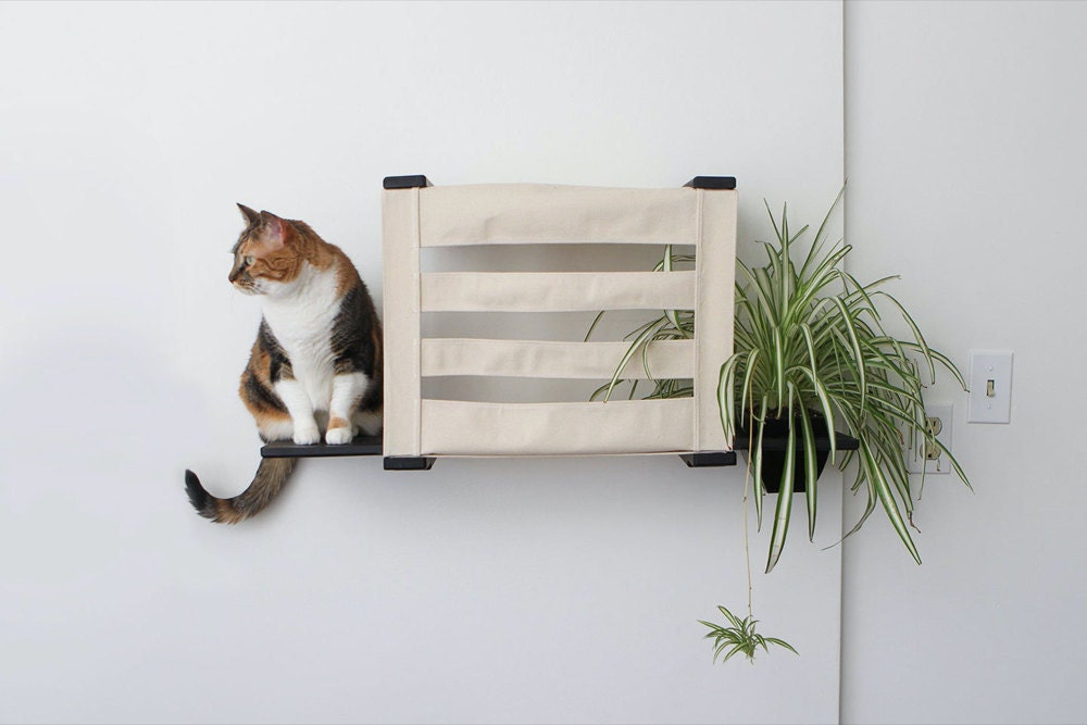 A canvas cat cubby from CatastrophiCreations