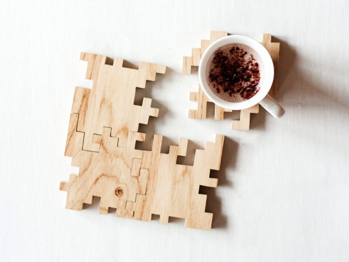 Puzzle coasters from Ryon Design, on Etsy