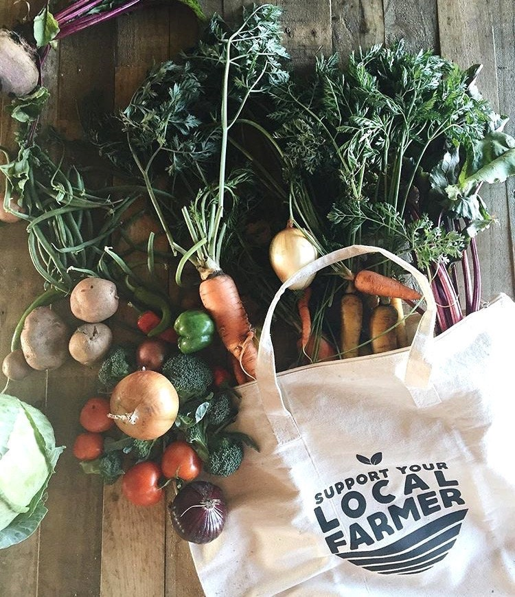 """""""Support Your Local Farmer"""" zipper tote bag from Nature Supply Co., overflowing with vegetables"""