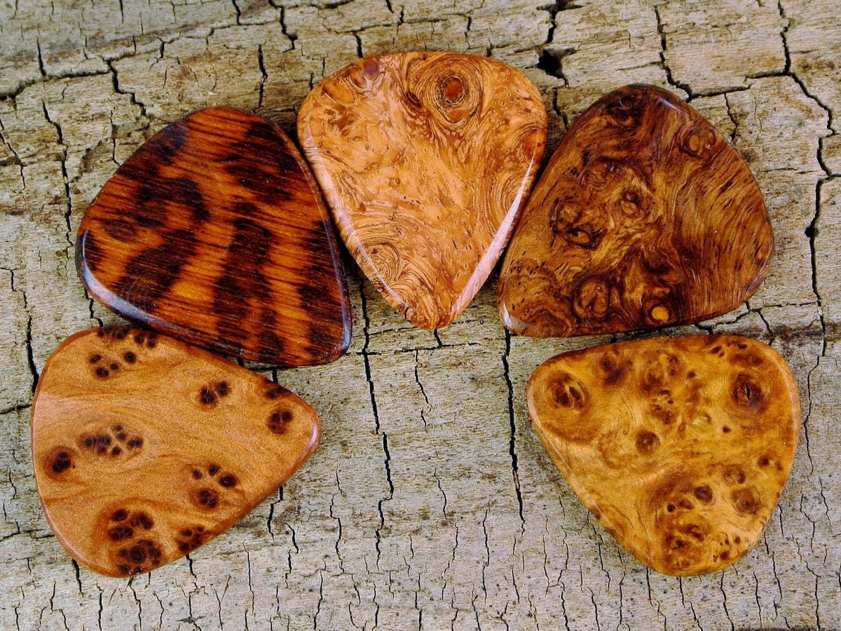 Custom-engraved wood guitar pick from Pickslay's Woodworking, and more of the best dad gifts from Etsy