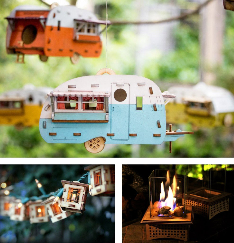 Birdhouse camper kit, tabletop fireplace kit, string light kit, all from One Man, One Garage