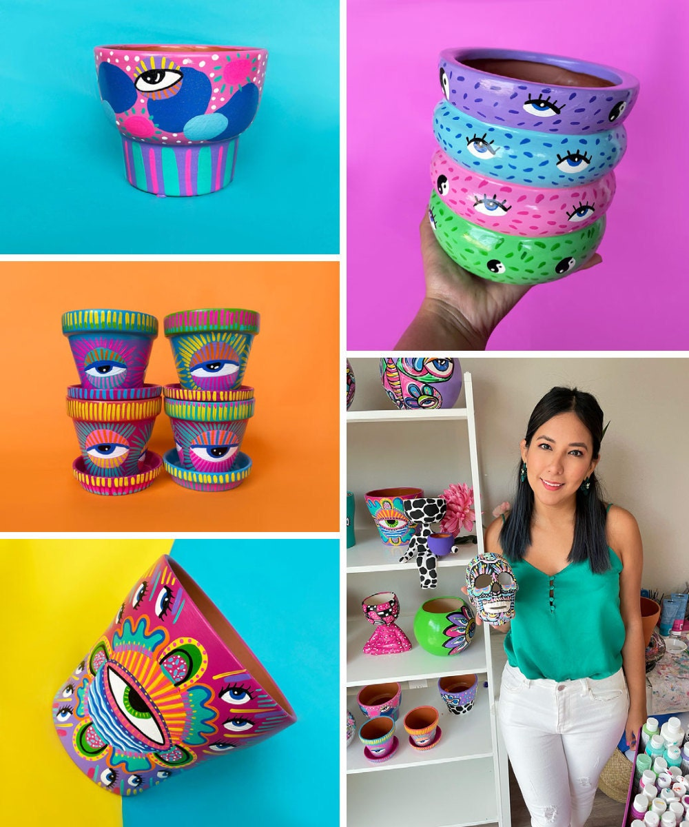 A collage of brightly colored painted pots and planters from Karmita Creative on Etsy.