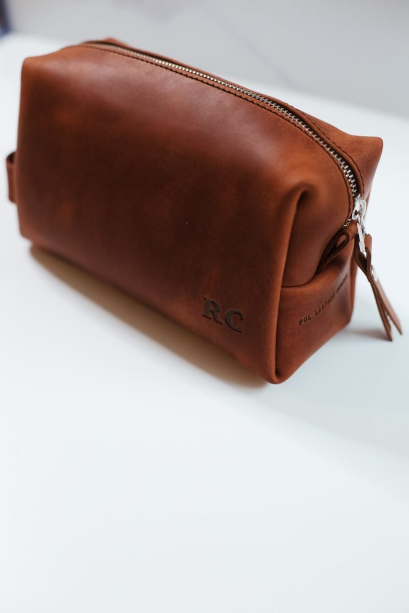Personalized leather dopp kit from Pol Leather Studio