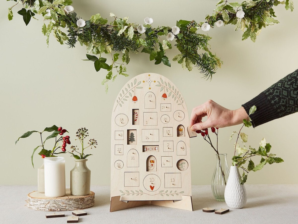 An heirloom wooden advent calendar from Anna Wiscombe on Etsy