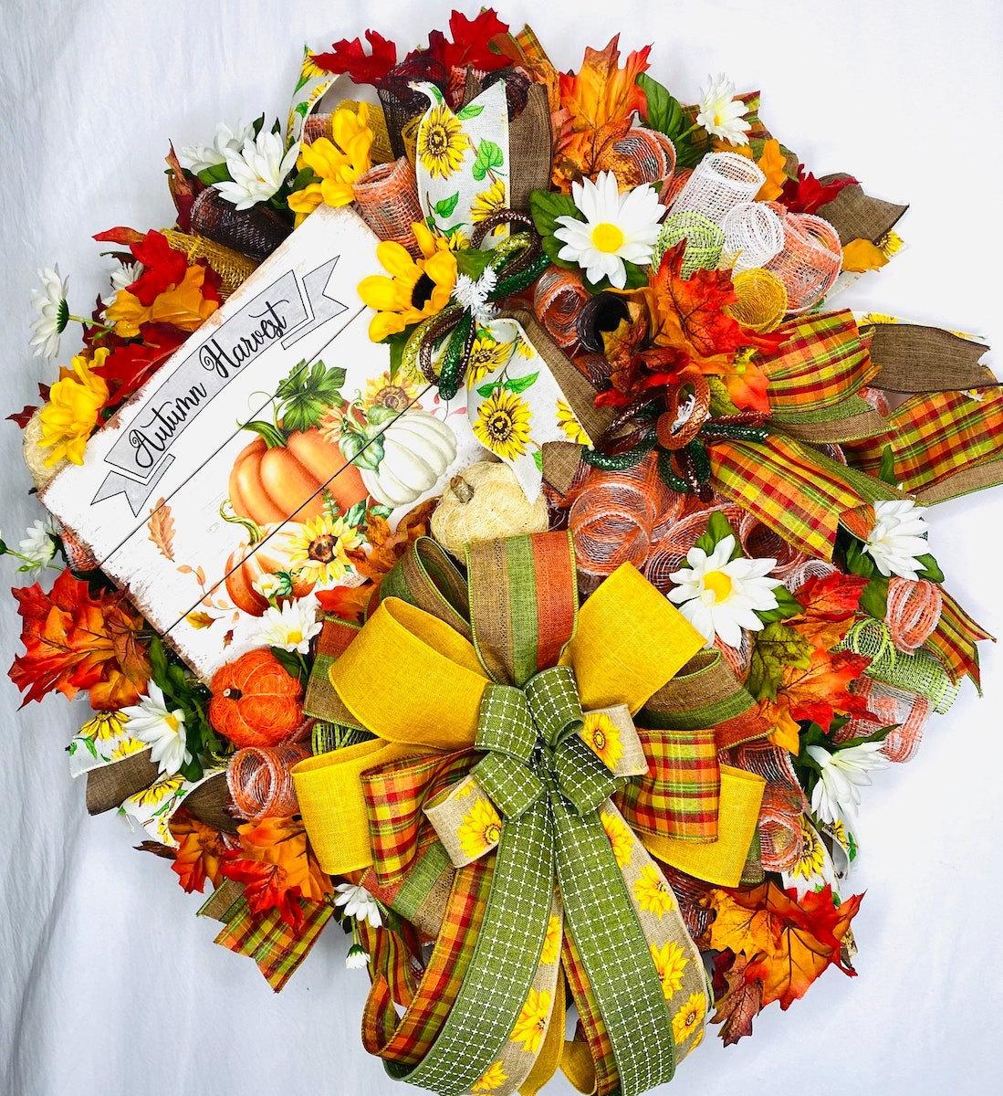 Fall wreath with pumpkin sign