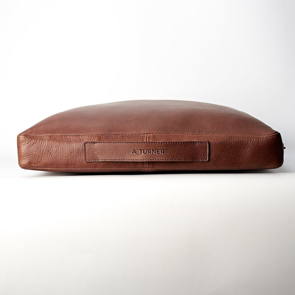 Personalized leather meditation cushion from Capra Leather
