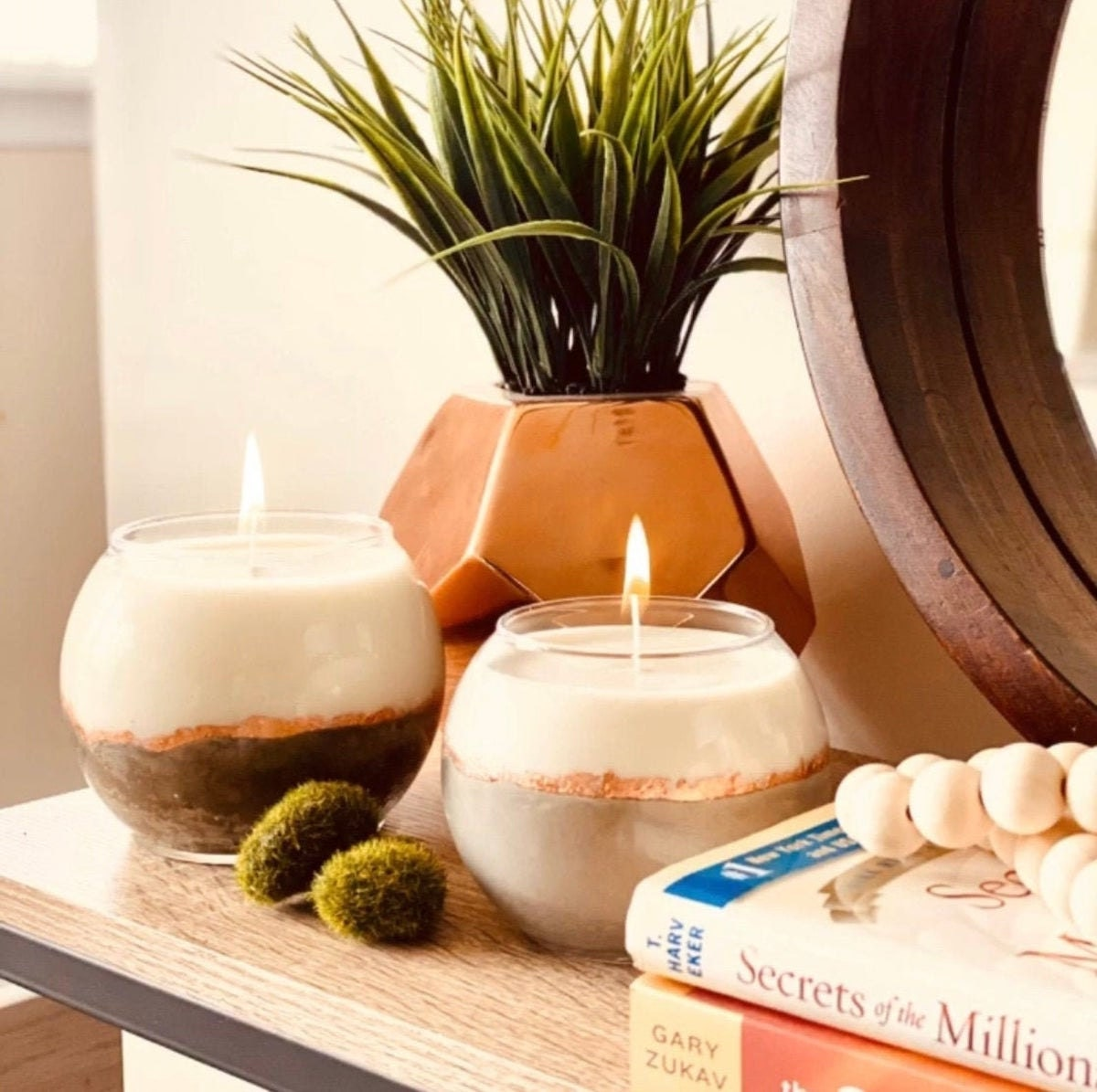 Concrete and rose gold candles from Perpetual Bliss Co. on Etsy