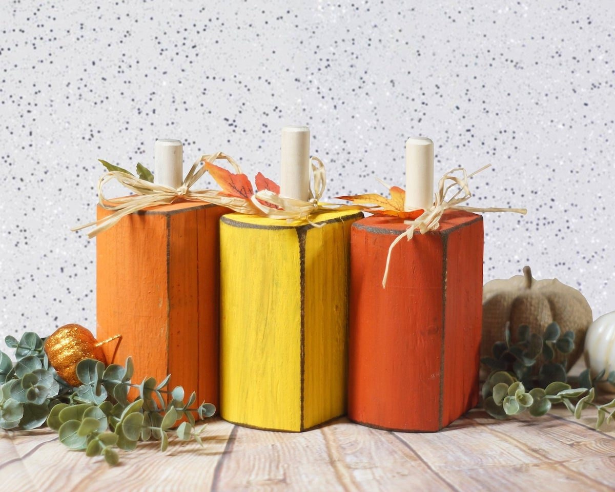 Trio of candy corn pumpkins from GFT Woodcraft