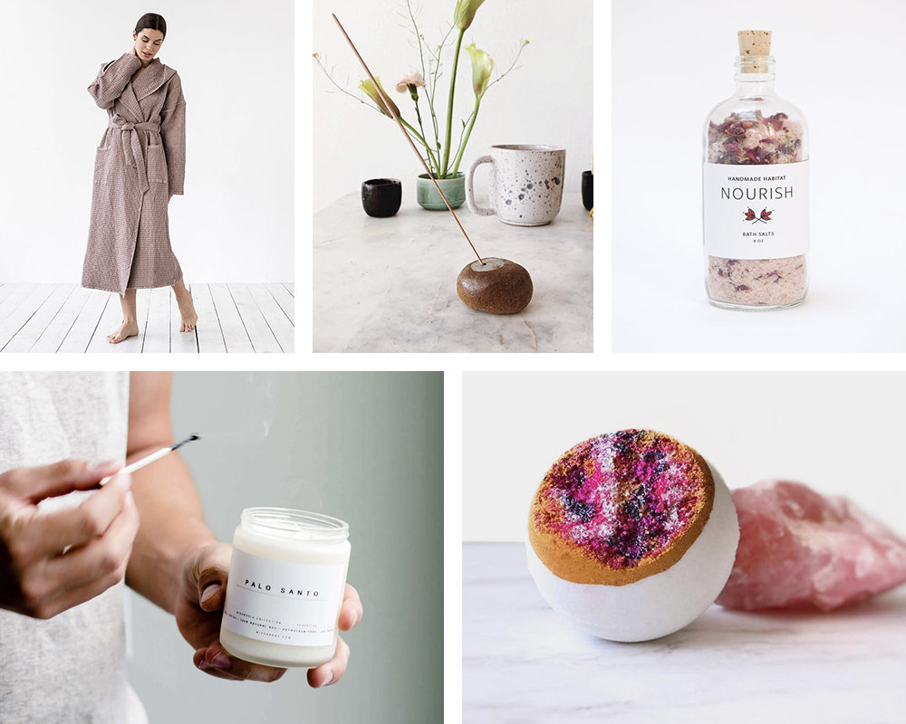 A collage of spa day finds from Etsy