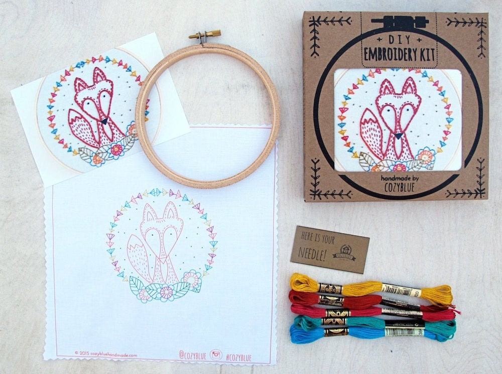 Crafty Fox embroidery kit from Cozy Blue