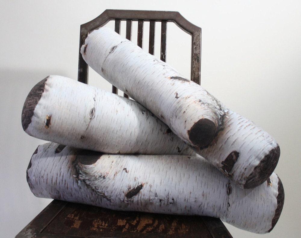 Birch log-printed pillows from Etsy seller Plantillo