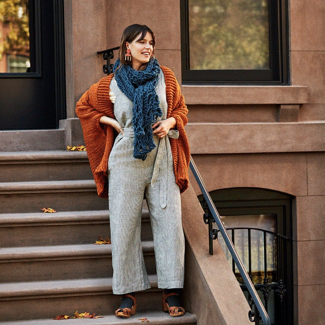 Animated GIF of three layered fall looks: for her, for him, and for kids