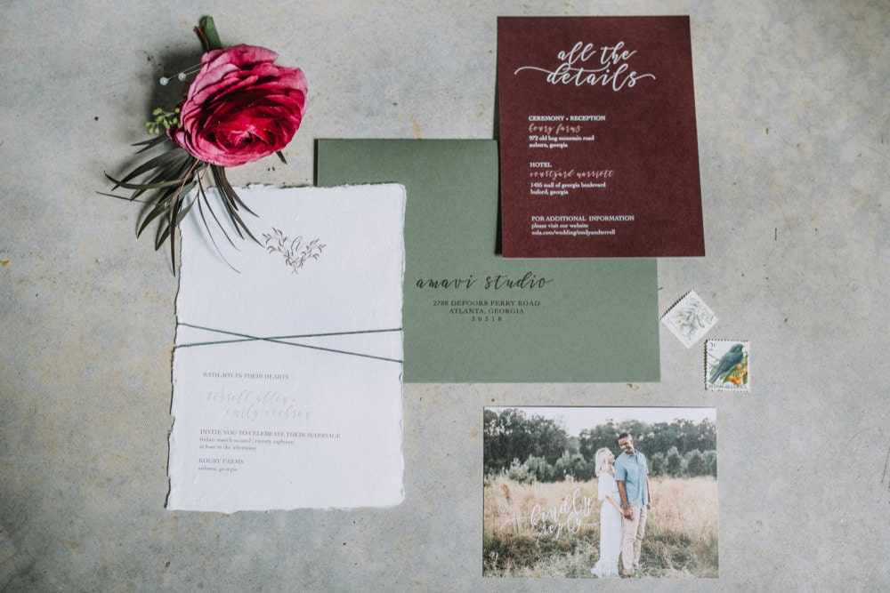 Emily and Terrell's wedding invitation suite