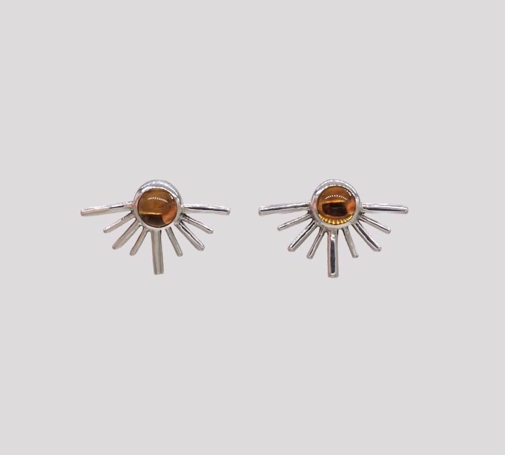 Citrine sunburst post earrings from Aleishla
