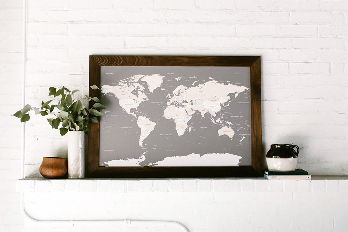 Interactive travel map from Etsy