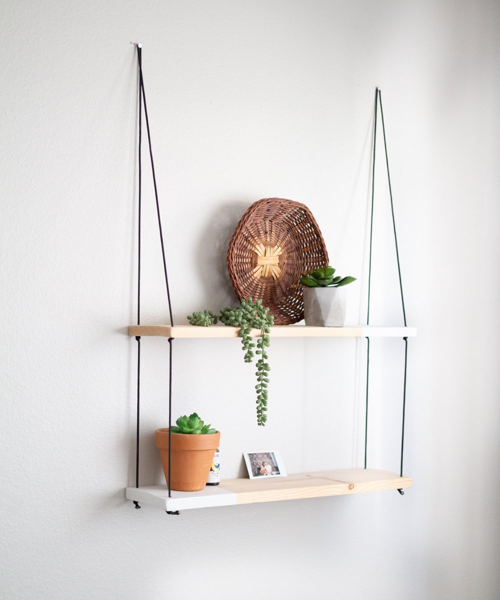 Two-tone tiered hanging shelf from TheCraftySwirl, $55