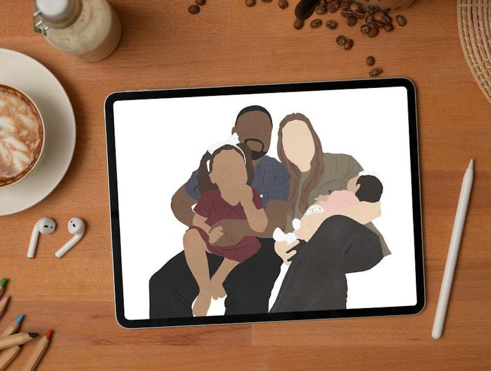 Digital family portrait from The Lazy Moose Art