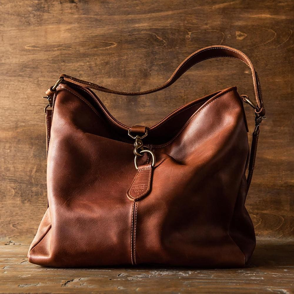 A fine leather shoulder bag from Holtz Leather Co.