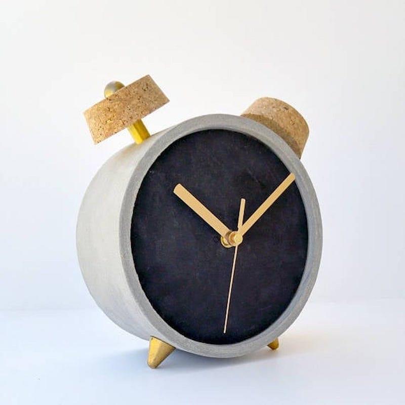 Concrete and brass desk clock from STURLESI