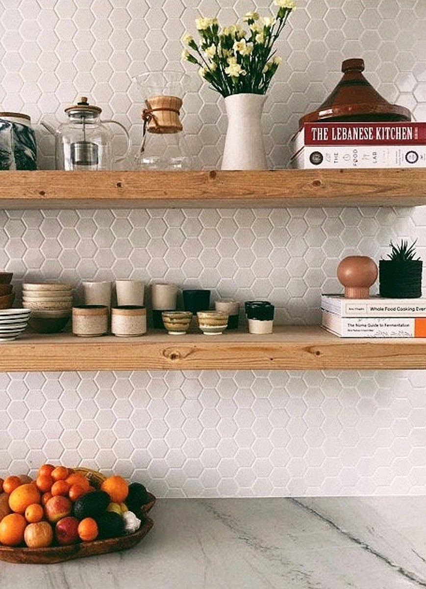 Open wood shelving from Etsy