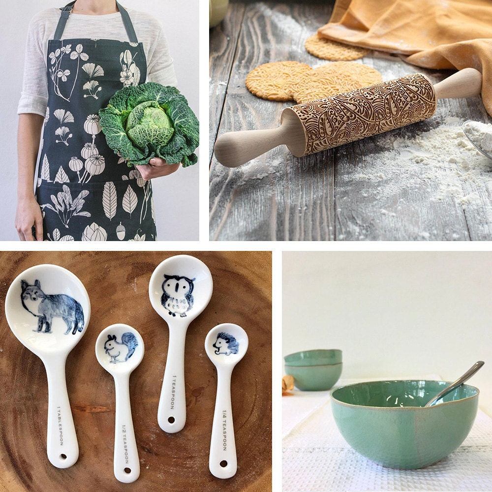 A collage of baking staples available on Etsy