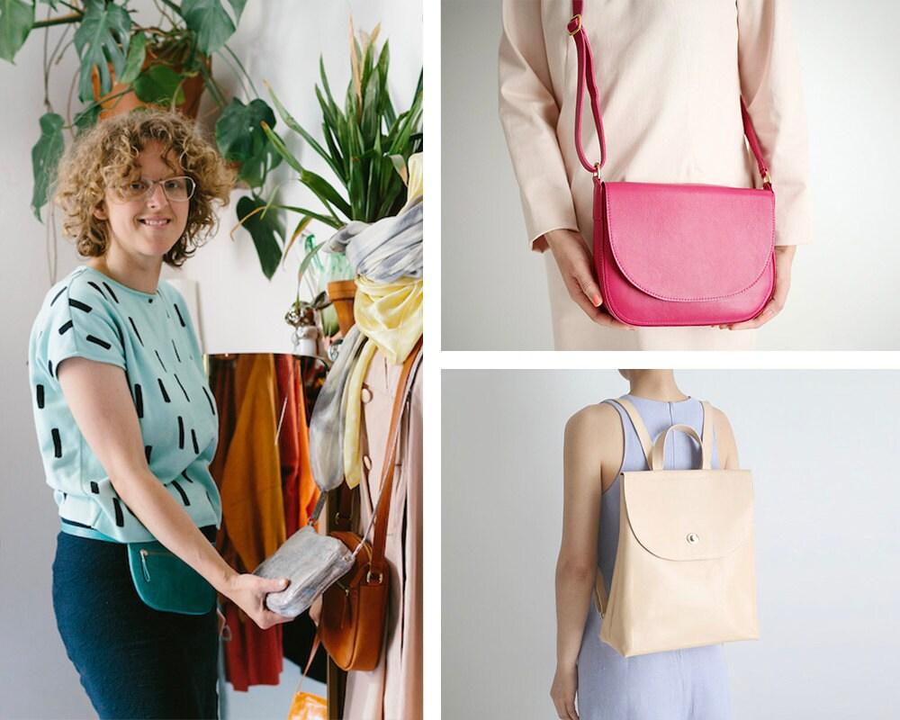 Portrait of accessories designer Alex Bender collaged alongside some of her colorful handbag designs.