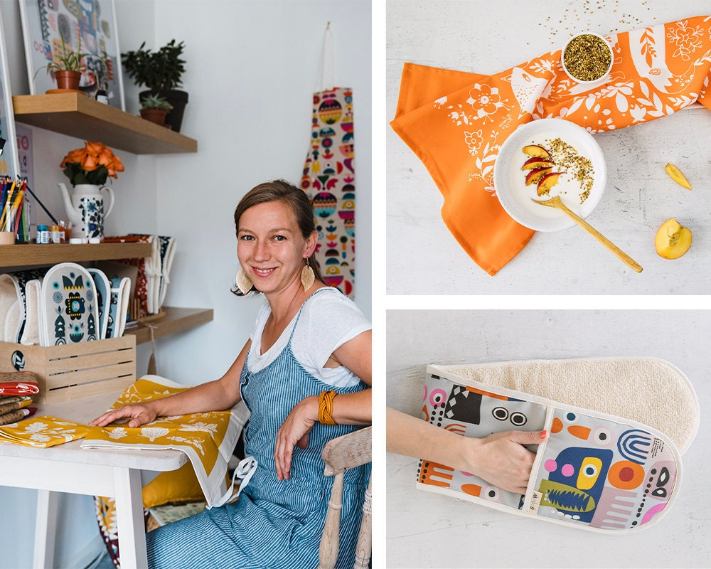 A portrait of textile designer Tatiana Nedialkova collaged with pieces from the Softer and Wild collection