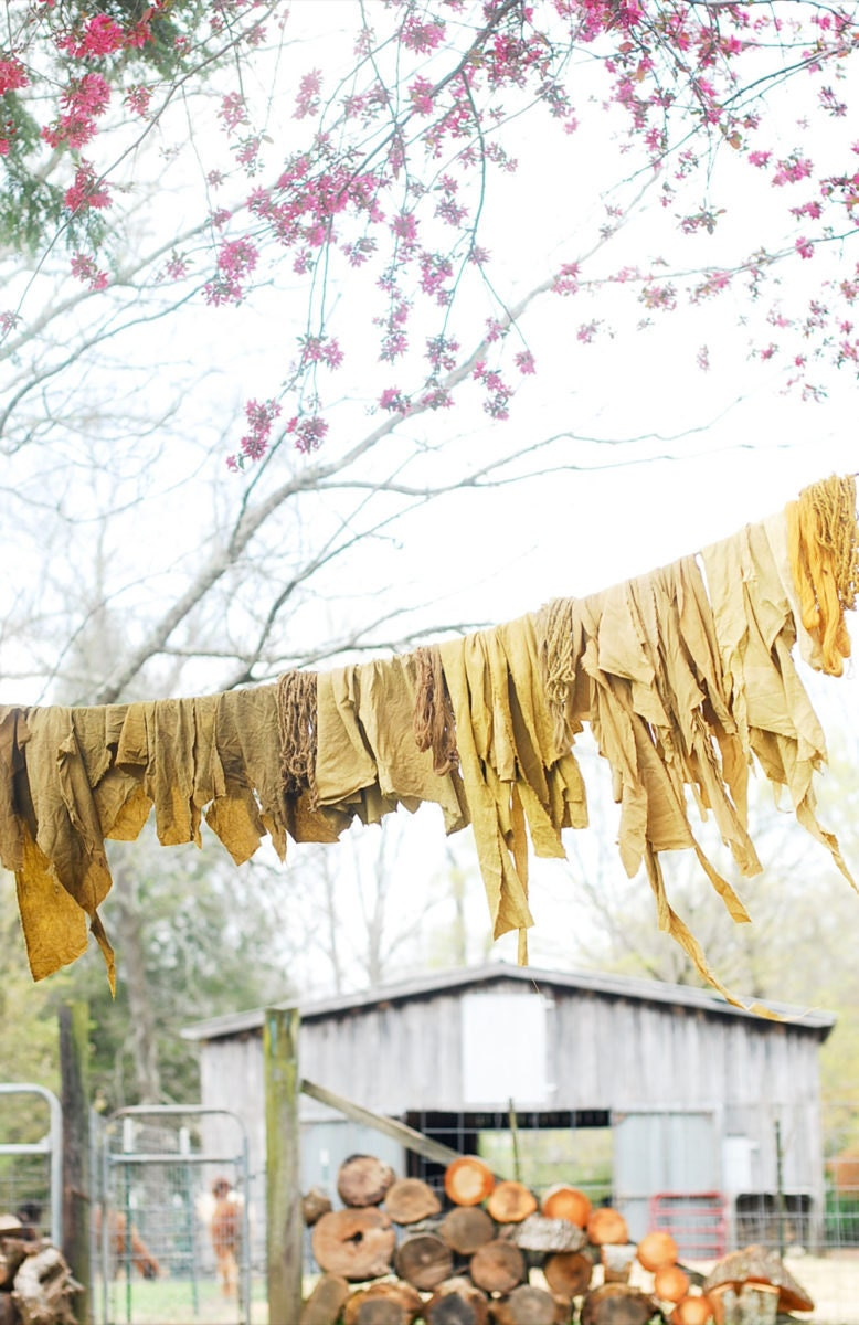 dyed textiles drying on a clothesline