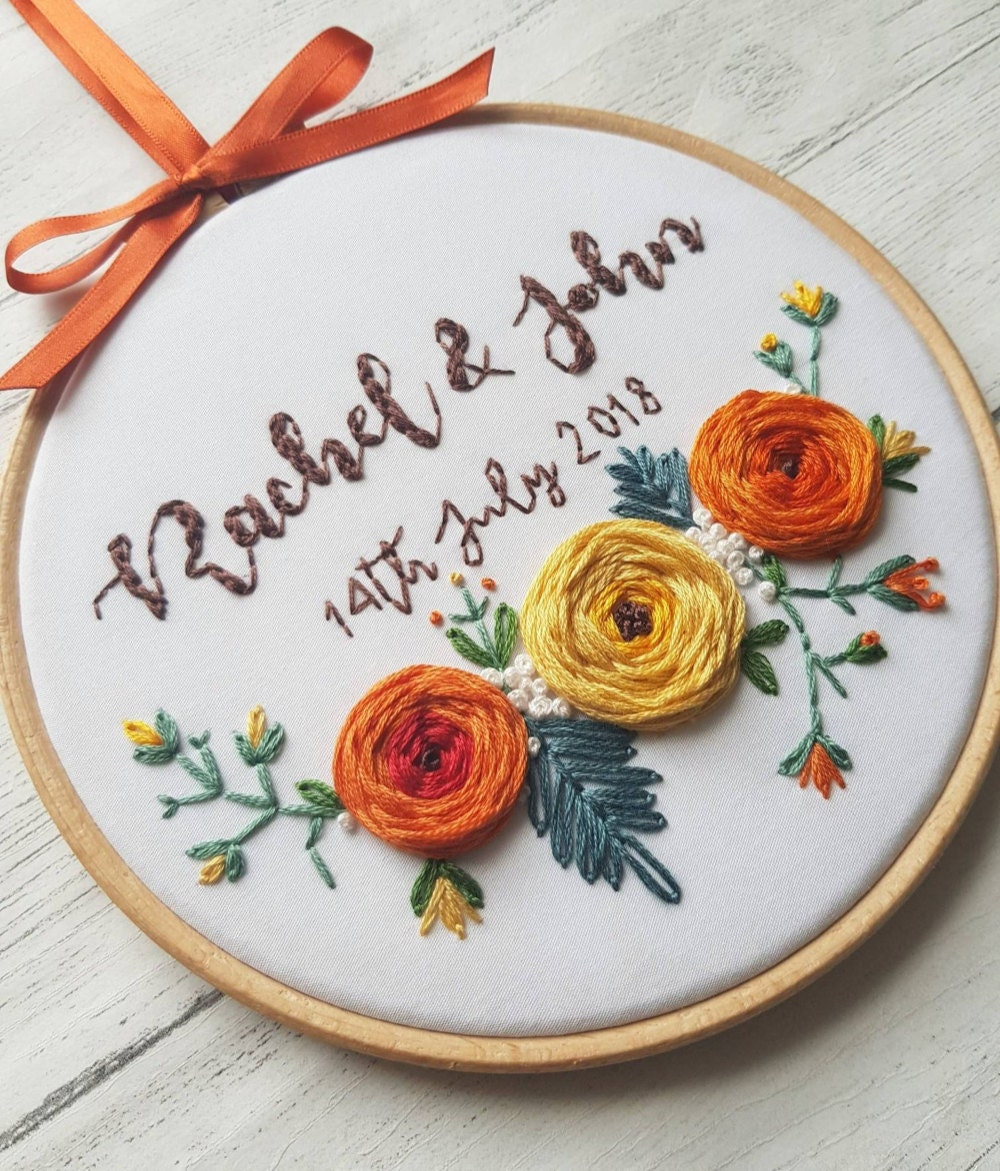 Personalized wedding gift embroidery hoop from Natalie Gaynor Designs