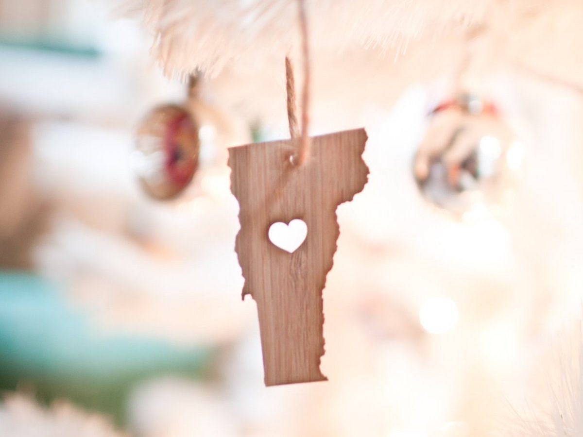 Bamboo state-shaped ornament from Farmhouse Moon