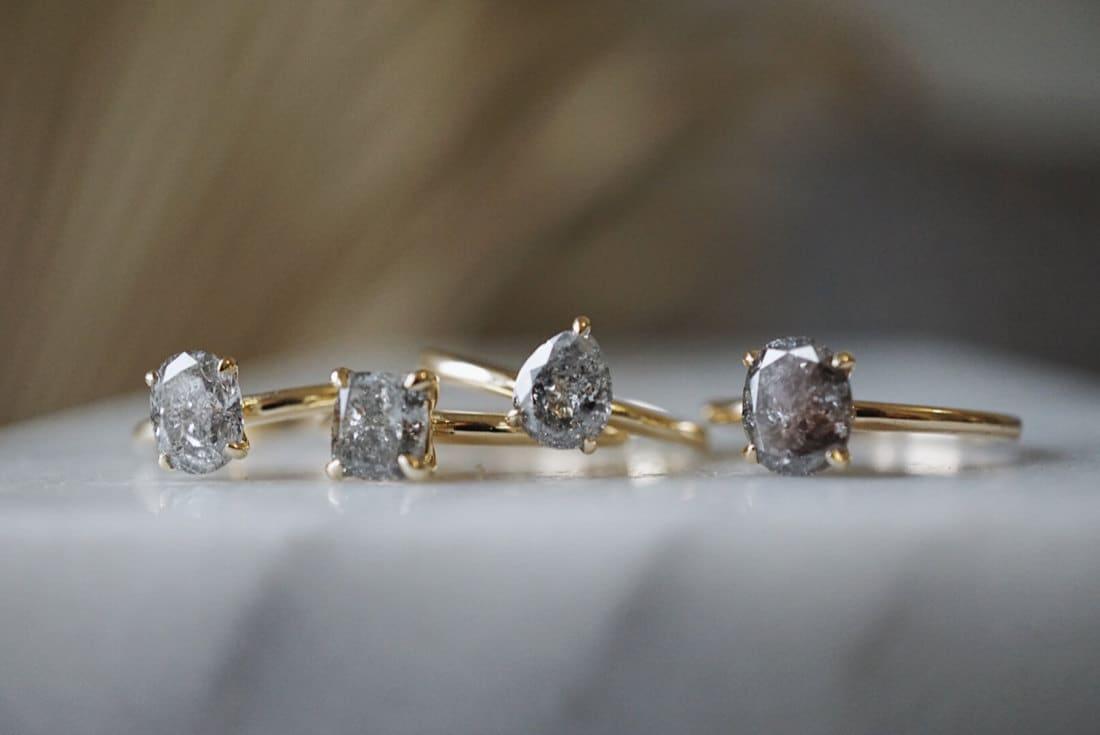 Salt-and-pepper diamond rings from Foe & Dear