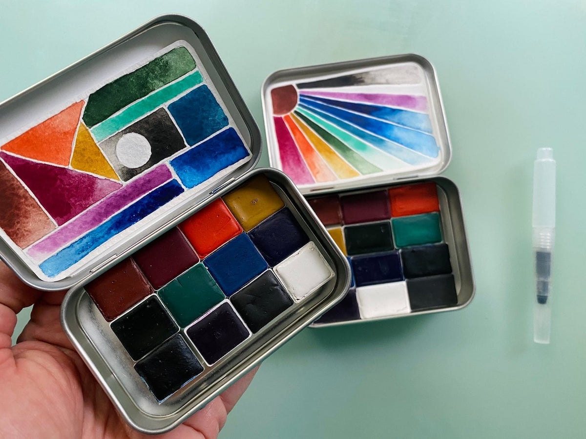 Handmade watercolor paint palette  from Pfeiffer Art Supply and more of the best dad gifts on Etsy