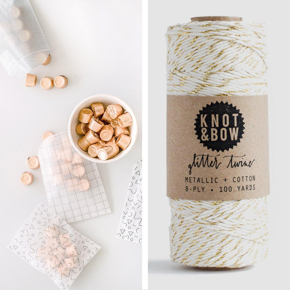 A collage of glassine bags and baker's twine from Knot & Bow
