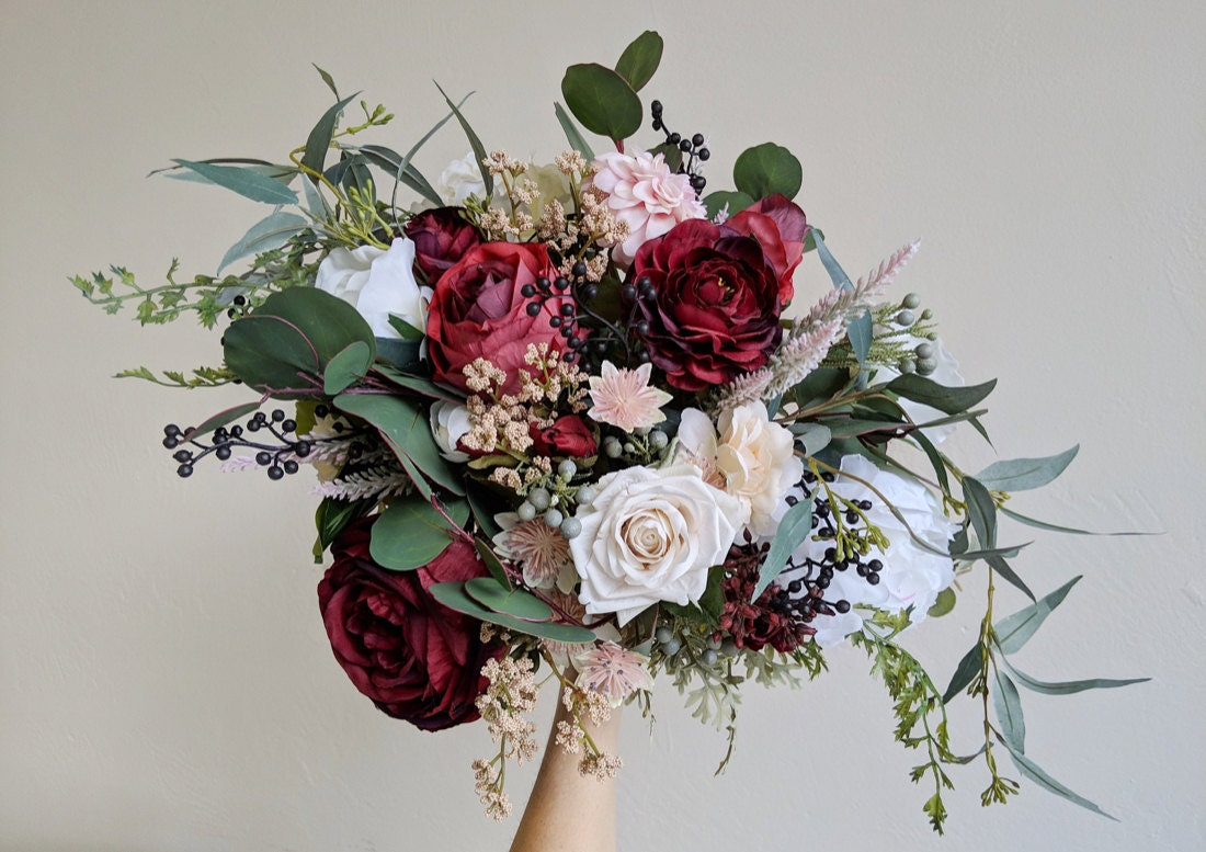 An example of a lush, wild red and pink faux bouquet from The Faux Bouquets