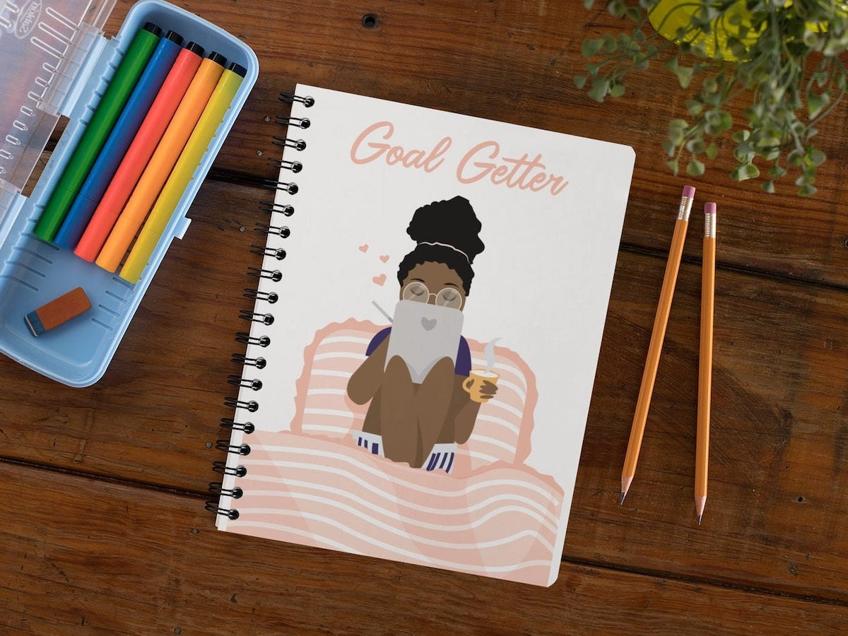 Goal Getter Black Girl notebook from Copper and Brass Paper Goods, on Etsy