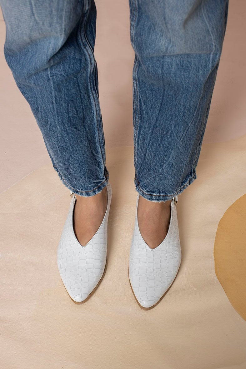 White snake-print leather flats from Katz and Birds